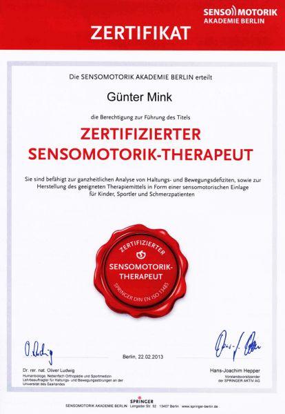 Zertifikate - Mink Orthopädie-Schuhtechnik in Stuttgart